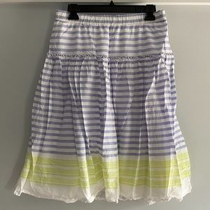 Old Navy White Skirt with Blue and Green Stripes